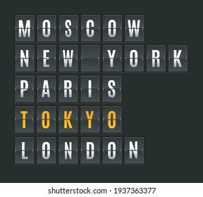 Mechanical Airport Flip Board with Cities Arrival or Destination. Vector illustration of Flipping Panel Include of Moscow and Paris