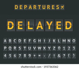 Mechanical Airport Flip Board Departure Delayed and Set of Letters and Numbers on a Scoreboard. Vector illustration