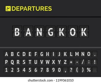 Mechanical airport flip board font with flight info of departure destination in Asia: Bangkok with aircraft icon. Vector