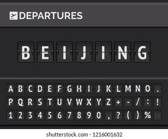 Mechanical airport flip board font displays flight info of departure destination in China: Beijing with timetable icon . Vector illustration