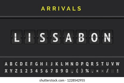 Mechanical airport flip board font displays flight info of destination in Europe: Lissabon with aircraft arrival sign . Vector illustration