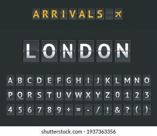 Mechanical Airport Flip Board London and Set of Letters and Numbers on a Scoreboard. Vector illustration