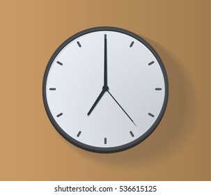 Mechanical analog wall clock. Vector illustration. 7 AM, 7 PM or 19:00. Dark gray (black) and white clock on the sand background. Straight strict hands. The dial without numbers. Flat design, shadow.