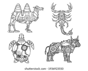 Mechanical animal set camel scorpion turtle bull sketch engraving vector illustration. T-shirt apparel print design. Scratch board imitation. Black and white hand drawn image.