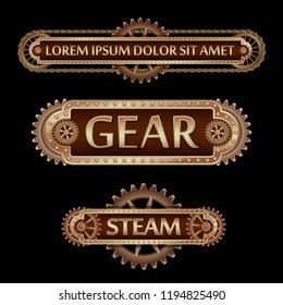 Mechanical banner decorated with brass gears and rivets on a black Steampunk background.