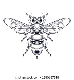 mechanical bee steampunk illustration and tshirt design