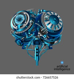 The Mechanical brain of the robot. Artificial intelligence. Mechanical electronic part of the robot head in the style of cyber punk or steam punk vintage. Front view. VECTOR.