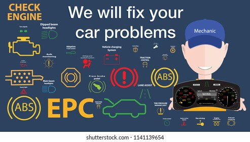 Mechanical car problems fix solutions-Car dashboard,dtc codes,error message,check engine,fault, dashboard vector illustration,gas level,air suspension,collection,warnings.