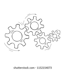 Mechanical cogs technology vector sketch. Cooperation concept design element with hand drawn cog and gear signify people commucnication. Cogwheel illustration for web element or modern background
