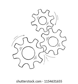 Mechanical cogs vector sketch. Development concept hand drawn mechanism construction with outline cog and gear signify people communication. Cogwheel illustration for technical symbol or web icons