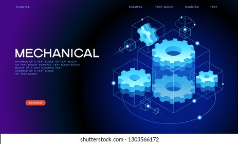 Mechanical concept. Technology machine engineering symbol. Industry development. Engine work. Business solution idea. 3d vector isometric illustration.
