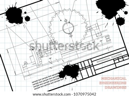 Mechanical Drawings On White Background Engineering Stock Vector