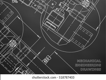 Mechanical Engineering drawing. Blueprints. Black