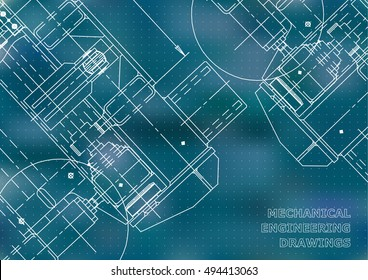 Mechanical Engineering drawing. Blueprints. Mechanics. Cover, background for your design. Blue. Points