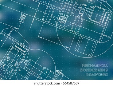 Mechanical Engineering drawing. Blueprints. Mechanics. Cover, background. Blue. Points