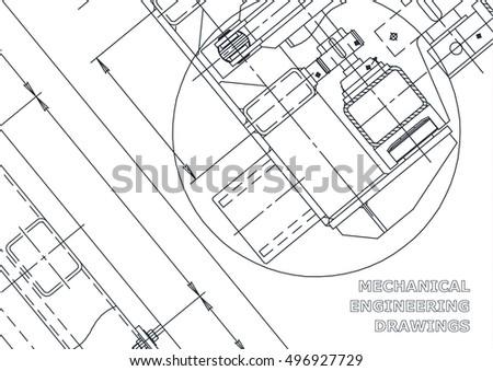 Mechanical Engineering Drawing Blueprints Mechanics Stock Vector