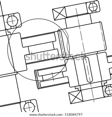 Mechanical Engineering Drawing Vector Stock Vector Royalty Free
