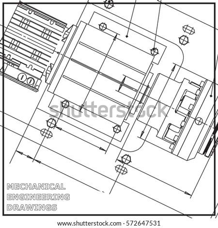 Mechanical Engineering Drawing White Background Engineering Stock