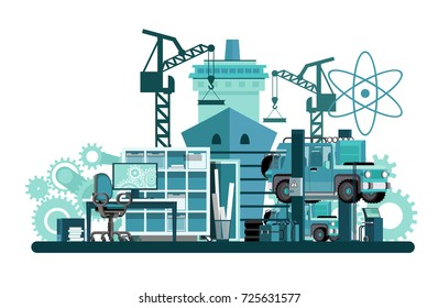Mechanical engineering. From drawings to engineering. From design to engineering. Flat style. Flat design. Vector illustration Eps10 file