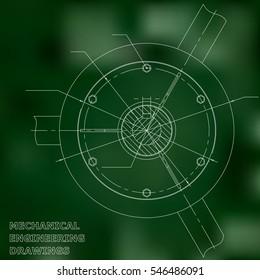 Mechanical engineering drawings. Engineering. Green