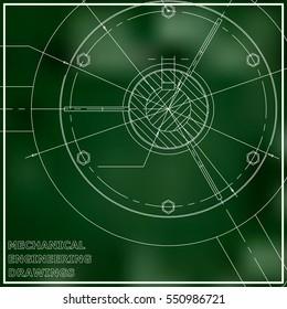 Mechanical engineering drawings illustration. Green