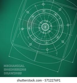 Mechanical engineering drawings. Engineering illustration. Vector. Light green