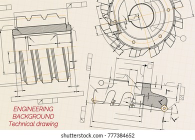 Mechanical engineering drawings on beige technical stock photo mechanical engineering drawings on beige technical paper background cutting tools milling cutter industrial malvernweather Choice Image