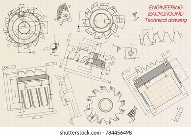 Mechanical engineering drawings on beige technical stock vector mechanical engineering drawings on beige technical paper background cutting tools milling cutter industrial malvernweather Choice Image