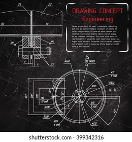 Mechanical engineering drawings on blackboard. Vector illustration