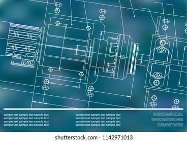 Mechanical engineering drawings on a Blue background. Vector. Background for inscription