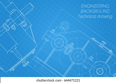 Mechanical engineering drawings on blue background. Reducer. Technical Design. Cover. Blueprint. Vector illustration.