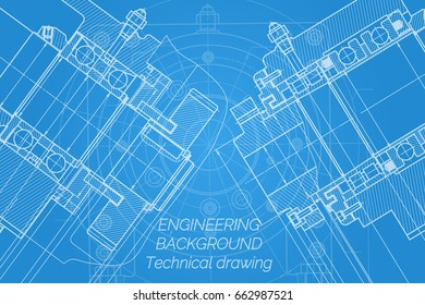Mechanical engineering drawings on blue background. Milling machine spindle. Technical Design. Cover. Blueprint. Vector illustration.