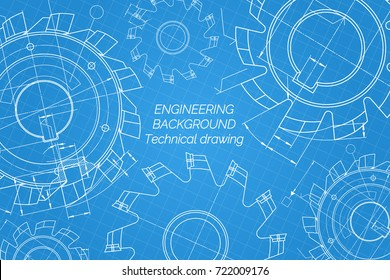 Mechanical engineering drawings on blue background. Cutting tools, milling cutter. Technical Design. Cover. Blueprint. Vector illustration.