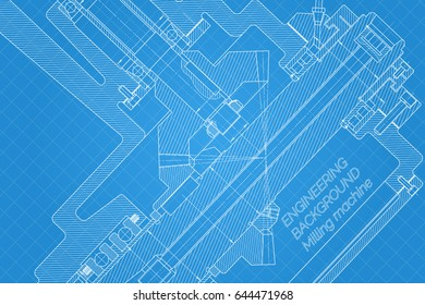 Mechanical engineering drawings on light background. Milling machine spindle. Technical Design. Cover.