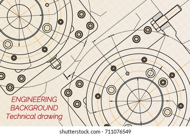 Mechanical engineering drawings on light background. Milling machine spindle. Technical Design. Cover. Blueprint. Vector illustration.