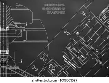 Mechanical engineering drawings. Technical Design. Instrument making. Blueprints. Black background