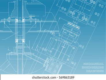 Mechanical engineering drawings. Technical Design. Blueprints. Blue and White