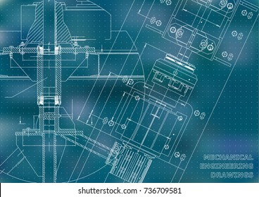 Mechanical engineering drawings. Technical Design. Blueprints. Blue background. Points