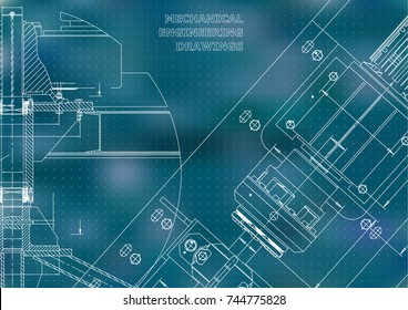 Mechanical engineering drawings. Technical Design. Instrument making. Blueprints. Blue background. Points
