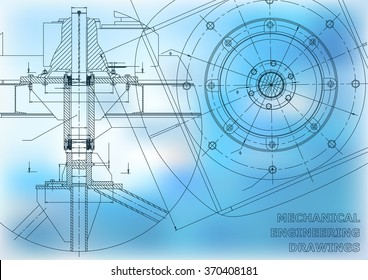 Mechanical engineering drawings. Vector background