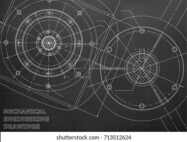 Mechanical engineering drawings. Vector background. Black. Grid