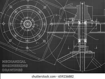Mechanical engineering drawings. Vector. Black. Grid