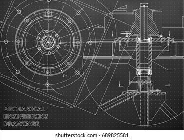 Mechanical engineering drawings. Vector. Black. Points