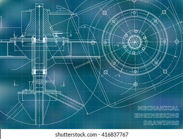 Mechanical engineering drawings. Vector blue background. Grid