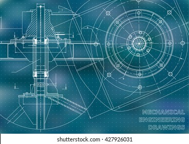 Mechanical engineering drawings. Vector blue background. Points