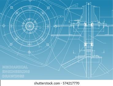 Mechanical engineering drawings. Vector. Blue