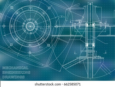 Mechanical engineering drawings. Vector. Blue. Points