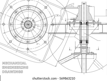 Mechanical engineering drawings. Vector. White