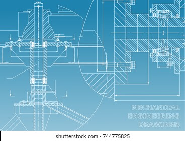 Mechanical engineering. Technical illustration. Backgrounds of engineering subjects. Technical design. Instrument making. Cover, banner, flyer. Blue and white