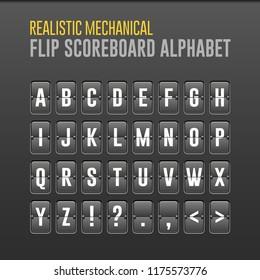 Mechanical Flip Scoreboard Alphabet. Vector Font, Board Symbols. Vector EPS10